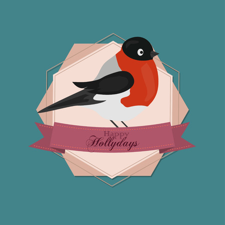 happy holidays: Merry Christmas Vintage Retro Typography Lettering Design Greeting Card on simple background. Happy New Year Happy Holidays Template. Card with Christmas bird,winter birds,sparrow,winter,chaffinch Illustration