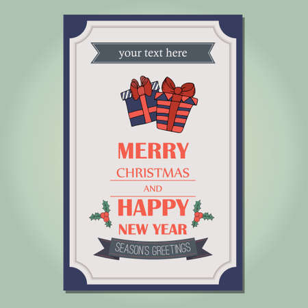 new yea: Merry Christmas invitation card ornament decoration background.