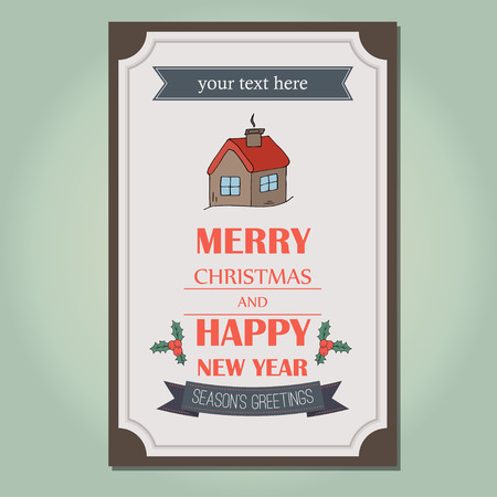 new yea: Merry Christmas invitation card ornament decoration background. Vector illustration Eps 10.. Happy new year message. Illustration