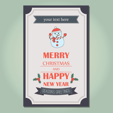 yea: Merry Christmas invitation card ornament decoration background.