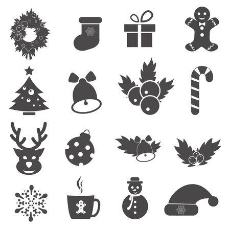 단일 개체: Vector Christmas icons.Each icon is a single object compound path.