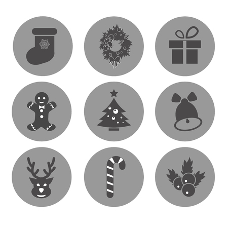 hubcap: Vector Christmas icons.Each icon is a single object compound path.