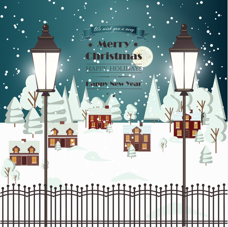 urban background: Winter Snow Urban Countryside Landscape City Village Real Estate New Year Christmas Night and Day Background Modern Flat Design Christmas house style. Full moon