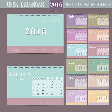 months: Desk Calendar 2016 Vector Design Template with abstract pattern. Set of 12 Months. Vector template design Illustration