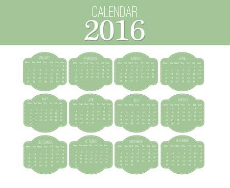 sjabloon: Eenvoudige kalender 2016. Abstract kalender voor 2016. 12 maanden. Vector sjabloon ontwerp Stock Illustratie