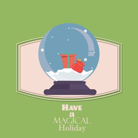 christmas snow globe: Merry Christmas Vintage Retro Typography Lettering Design Greeting Card on simple background.Flat Christmas Snow Globe. Christmas snow globe with a Christmas tree inside. Isolated Christmas glass ball
