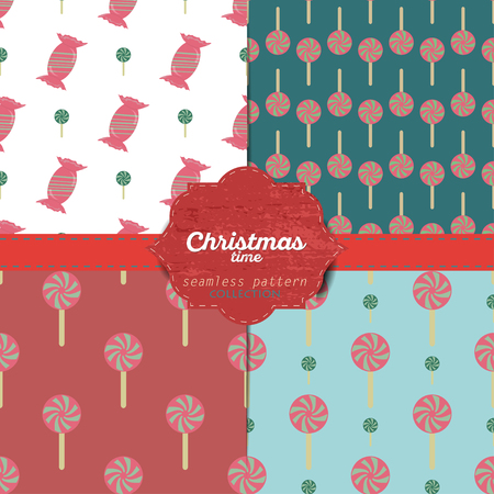 gift wrapping: Set of vector christmas seamless patterns for xmas cards and gift wrapping paper.Vintage Christmas elements