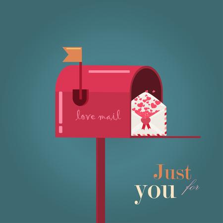 enamorados caricatura: D�a de San Valent�n. tarjetas de amor. Buz�n y el sobre con el coraz�n Vectores
