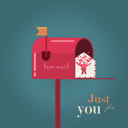 cute couple: Valentines Day. Love cards. Mailbox and Envelope with hearts