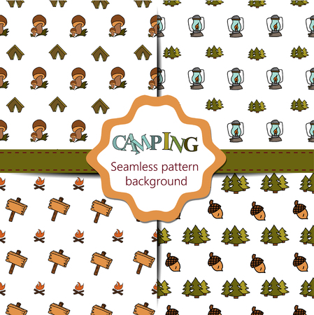 woodpile: Camping - doodles collection. Big doodle set - Travel, camping hand drawn camping seamless pattern collection