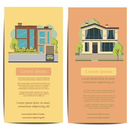 Beautiful family house and apartment banner on the nature background. Traditional and modern house. Flat design vector concept illustration.