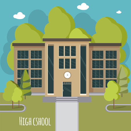 Hermosa fachada de la escuela secundaria.
