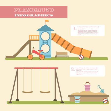 niños en bicicleta: Elementos infographic parque infantil vector illustration.Kids planos que juegan infografía equipos set.Flat ilustración vectorial de dibujos animados estilo con objetos aislados.