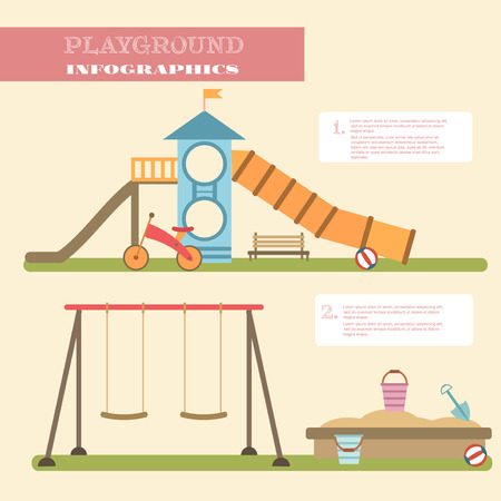 children play: Playground infographic elements vector flat illustration.Kids playing equipment infographics set.Flat style cartoon vector illustration with isolated objects.