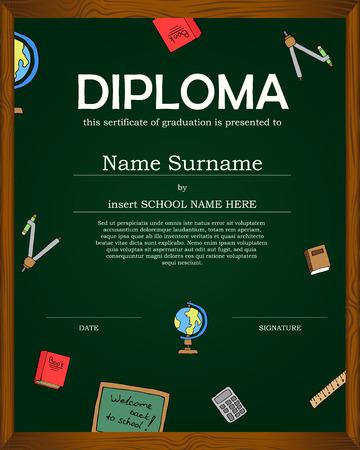 cartoon graduation: Diploma Preescolar Ni�os del dise�o del fondo certificado Educaci�n template.Kids dise�o de fondo template.Knowledge dise�o de conjunto de iconos de elemento de colecci�n escrito en fondo de la pizarra