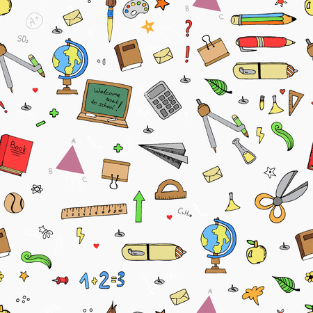 Seamless pattern of Freehand drawing school items on the blackboard. Back to School. Ilustrace