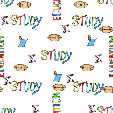 rough draft: Seamless pattern of Freehand drawing school items on the blackboard. Back to School. Illustration