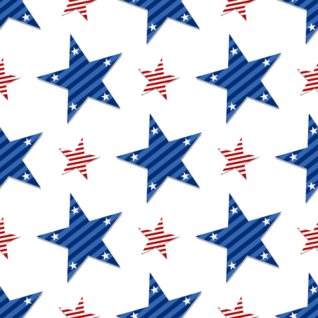 A seamless pattern of stars on white background.Patriotic Stars and Striped Textured Fabric Background that is seamless and repeats