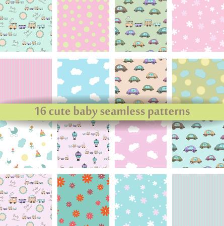 Set of 16 Cute baby seamless pattern.
