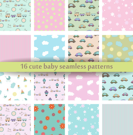 Set of 16 Cute baby seamless pattern.