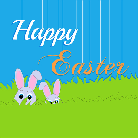 burrow: Easter rabbit and egg in grass. On a blue background.Greeting card