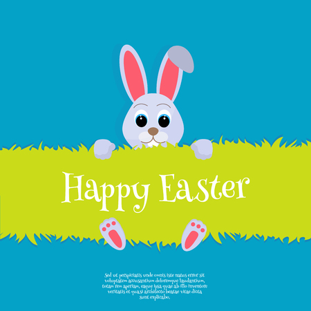 Happy Easter Vector Easter bunny looking out a green background Wide copy space for text. Happy easter cardillustration Stock Photo