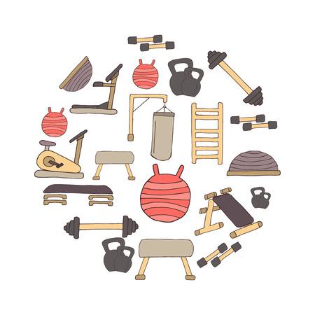simulators: Flat design sport concept. Sports equipment background. Flat design of gym items set illustration vector. Hand drawn elements.