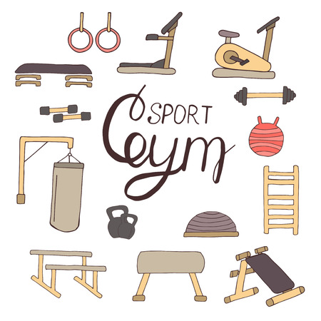 simulators: Flat design sport concept. Sports equipment background. Flat design of gym items set illustration vector. Hand drawn elements.