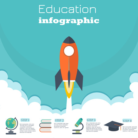 online business: Infographic education template design . concept vector illustration.Education banner and infographic vector.Set with school study symbols Illustration