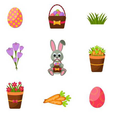 an easter cake: Easter scrapbook set of Eggs Chicks,Colorful Eggs, Yellow Chick ,Crocus, Easter Cake, Bunny Rabbit,carrots, a bouquet of flowers,Basket with eggs