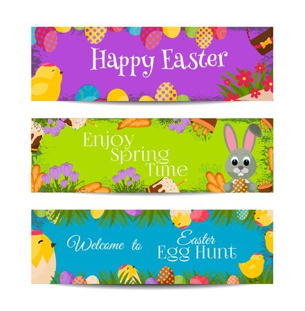 an easter cake: Happy Easter Horizontal Banners Set With Eggs Chicks,Colorful Eggs, Yellow Chick ,Crocus, Easter Cake, Bunny,Carrots, a bouquet of Flowers,Basket with eggs.Flat Icons.Spring Concept with place for text. Illustration