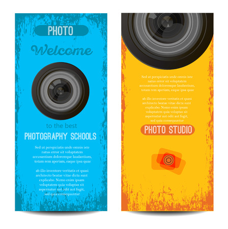 vector set of colorful photography camera  and banners.abstract creative concept vector background for business infographic, page, brochure, banner, presentation, poster, cover, booklet,document. Vectores