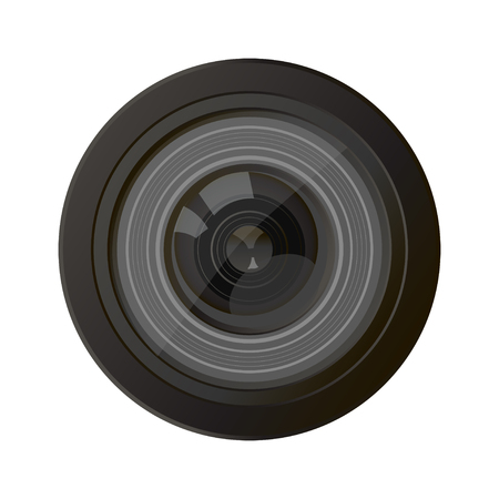 video camera: Camera photo lens, vector. A camera lens vector illustration with realistic reflections