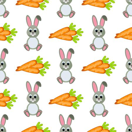 cute animal cartoon: Happy Easter Seamless Pattern. Flat Easter Icons. Spring Holiday Concept  Easter greeting card