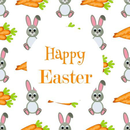 cute animal cartoon: Happy Easter Background. Flat Easter Icons Frame. Spring Holiday Concept with place for text. Easter greeting card Illustration