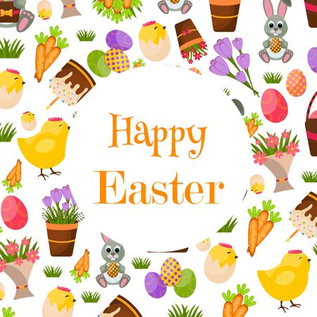 huevo caricatura: Antecedentes Feliz Pascua. Marco plana Iconos de Pascua. Concepto de vacaciones de primavera con lugar para el texto. tarjeta de felicitaci�n de Pascua Vectores