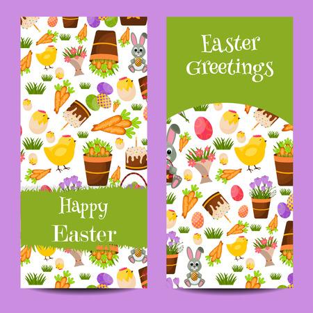 huevo caricatura: Happy Easter banners verticales configuran con los huevos de los polluelos, huevos de colores, polluelo amarillo, azafr�n, la torta de Pascua, conejito, zanahorias, un ramo de flores, cesta con eggs.Flat Icons.Spring concepto con el lugar de texto. Vectores