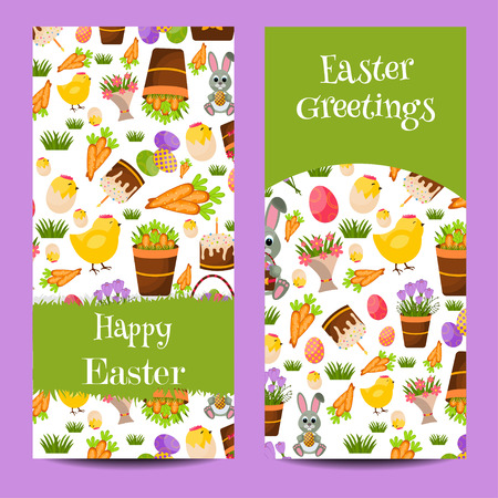 chicks: Happy Easter Vertical Banners Set With Eggs Chicks,Colorful Eggs, Yellow Chick ,Crocus, Easter Cake, Bunny,Carrots, a bouquet of Flowers,Basket with eggs.Flat Icons.Spring Concept with place for text.