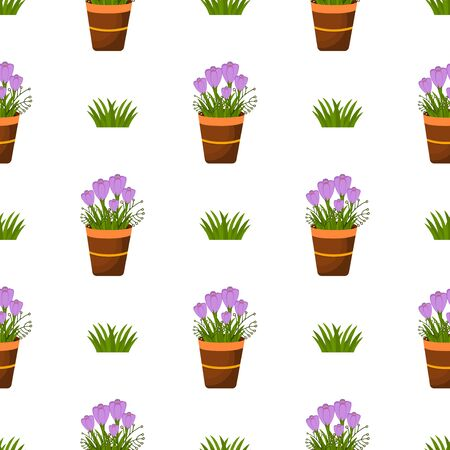 cartoon easter basket: Happy Easter Seamless Pattern. Flat Easter Icons. Spring Holiday Concept  Easter greeting card