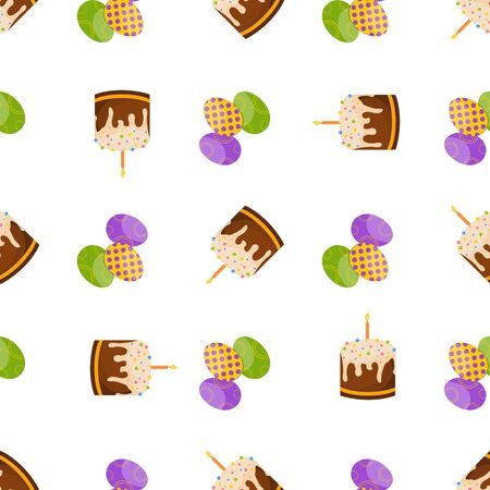 cartoon egg: Happy Easter Seamless Pattern. Flat Easter Icons. Spring Holiday Concept  Easter greeting card