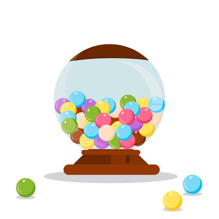 gumball: Vector Gumball Machine illustration. Gumball, bubblegum machine, dispenser vector illustration. Funny Gumball Machine. Gumball Machine colorful candy. Gumball Machine. Gumball Machine design.