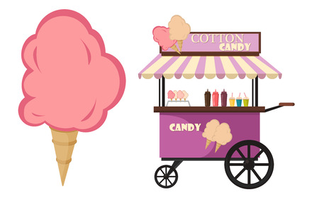 Vector flat illustration of Cotton Candy cart. Cart cotton confection light carnival candy and tasty cotton candy cart kids sweet food. Cotton candy sugar fluffy dessert on wooden stick vector.