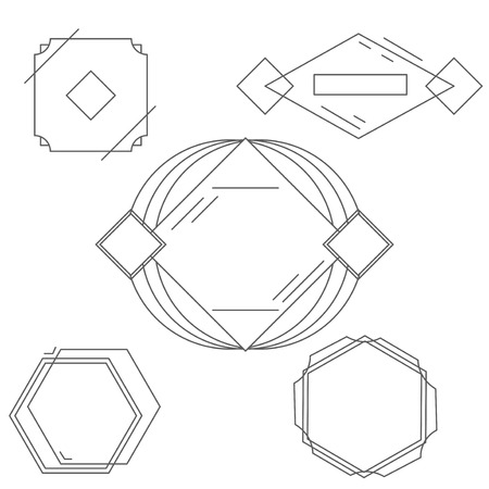 mono: Mono line frames set and vintage mono line retro frames. Temptate mono line frames and outline decorative trendy borders. Mono line frames elegant design elements badges, vignettes vector. Illustration