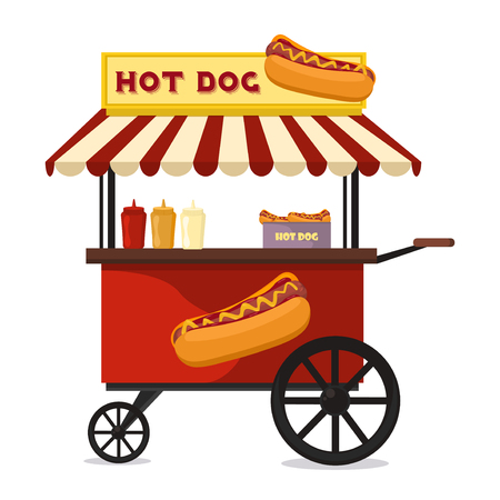 hot: Fast food hot dog cart and street hot dog cart. Hot dog cart street food market, hot dog cart stand vendor service. Kiosk seller fast food business. Hot dog fast food shop street cart city flat vector