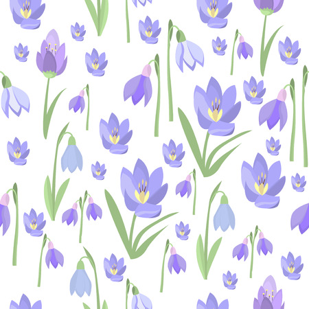 snowdrops: Early spring purple crocus and snowdrops nature beauty flowers seamless pattern vector. Crocus snowdrops flower color and purple crocus bouquet petal natural bloom. Purple crocus and snowdrops.