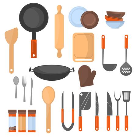 주방기구 및 요리 도구 아이콘 요리 도구 및 주방 용품의 컬렉션의 집합입니다. 다른 주방 및 주방기구 도구입니다. 부엌 utensil 가정 음식 요리 디자인 설정합니다.