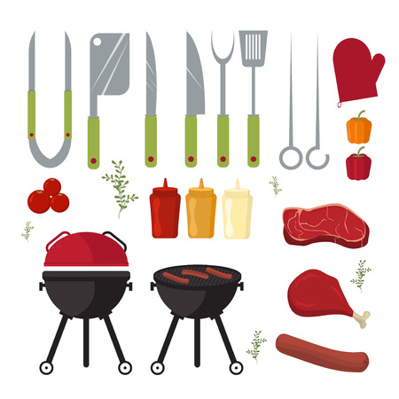 Barbecue design elements and barbecue grill summer food. Grilled picnic barbecue lunch, barbecue weekend cookout meat steak food. Vector set of barbecue and grill elements outdoors cooking dinner.
