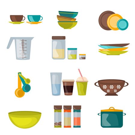 housewares: Kitchenware and utensil flat vector. Kitchen cook equipment and kitchenware chef design. Kitchen utensils, home kitchen appliances and restaurant kitchen tools.  Household cuisine interior housewares.