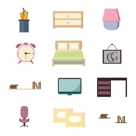 bedroom furniture: Set bedroom icons interior with furniture flat style vector illustration. Home bedroom icons interior and bedroom icons furniture house. Modern apartment bedroom icons luxury architecture relaxation.