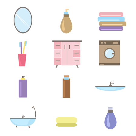 cleaning bathroom: Bathroom icons colored set with toothbrush hygiene collection equipment vector illustration. Bathroom icons home interior and shower bathroom icons. Bathroom icons dryer cleaning wash elements.